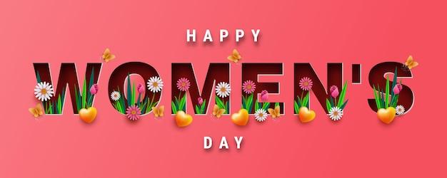 Design di banner o biglietto di auguri per la giornata internazionale della donna, lettere tagliate con fiori primaverili e rose