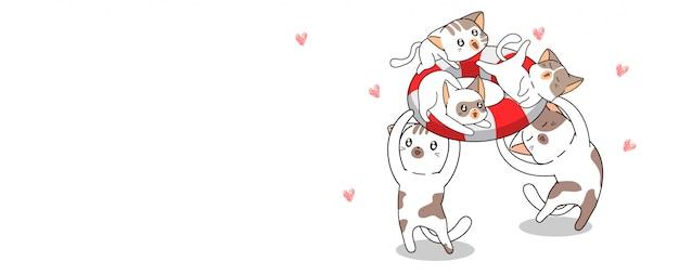 Banner famiglia saluto gatti stanno viaggiando verso il mare in tempo felice