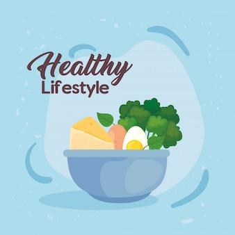 Banner stile di vita sano, verdure e cibo sano nella ciotola