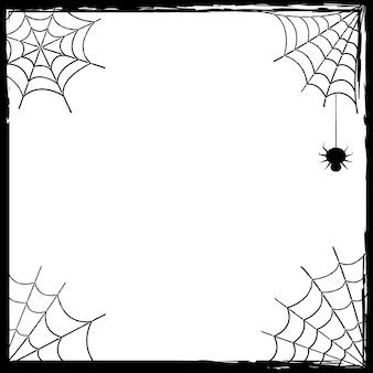 Banner per le vacanze. buona festa di halloween. dolcetto o scherzetto. modello con una trama in una semplice cornice grunge con una ragnatela. illustrazione vettoriale in bianco e nero.