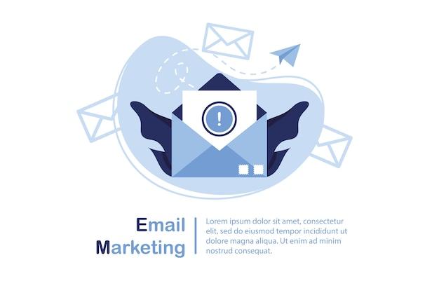 Illustrazione della bandiera di email marketing e concetto di messaggio. lettera, foglio in una busta. invio dell'applicazione. banner e modello per i siti. avviso importante. carta. blu e bianco.