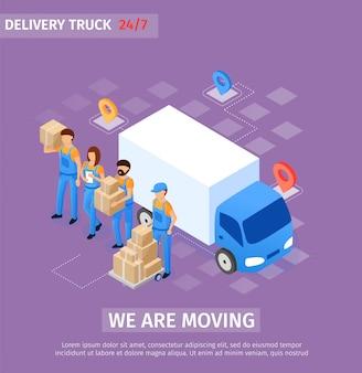 Iscrizione banner stiamo muovendo, camion di consegna