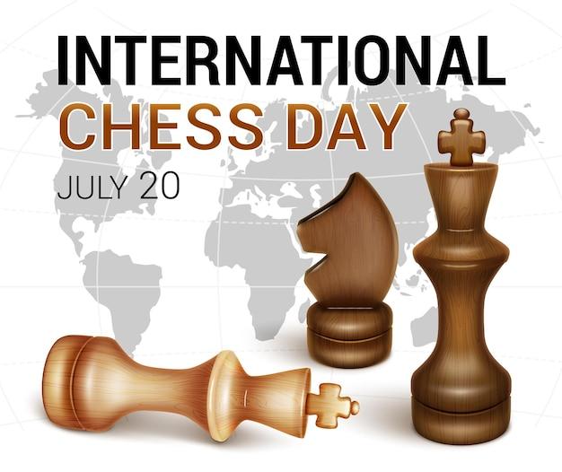 Banner giornata internazionale degli scacchi re nero dei pezzi e re bianco sconfitto la figura di un cavallo nero in stile realistico 3d