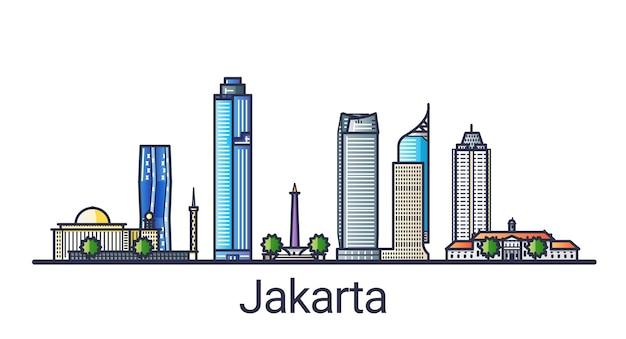 Banner della città di jakarta in stile linea piatta. arte di linea della città di jakarta. tutti gli edifici lineari separati e personalizzabili.