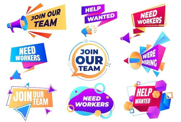 Banner unisciti al nostro team. cerca dipendenti. posto vacante, agitazione per il lavoro.