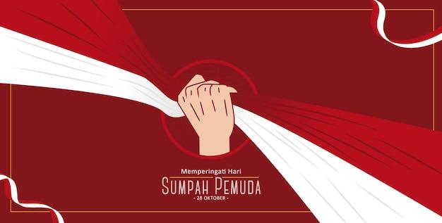 Banner paesaggio sumpah pemuda giorno ottobre