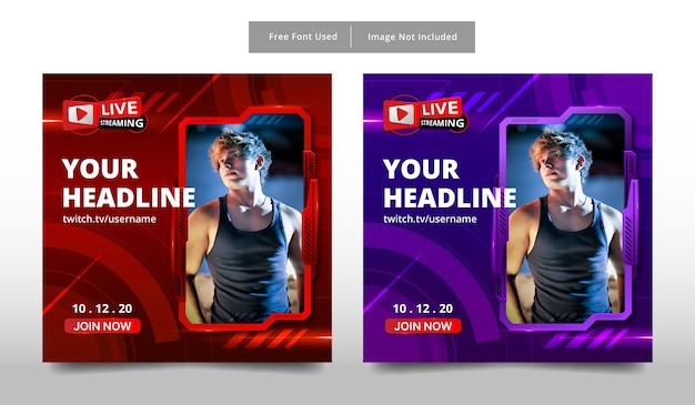 Banner design modello di streaming live.
