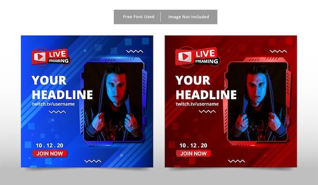 Modello di banner live streaming.