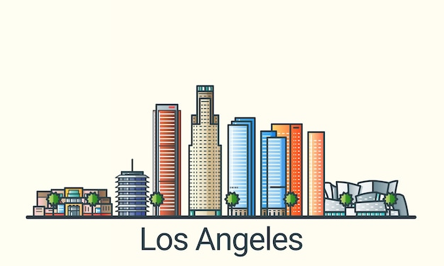 Banner della città di los angeles in stile alla moda linea piatta. arte di linea della città di los angeles. tutti gli edifici separati e personalizzabili.