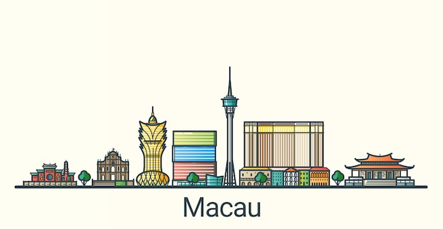 Banner della città di macao in stile alla moda linea piatta. tutti gli edifici separati e personalizzabili. linea artistica.