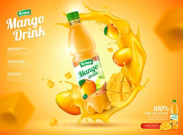 Banner di succo in bottiglia di mango con frutta fresca e spruzzi di liquido nell'illustrazione 3d