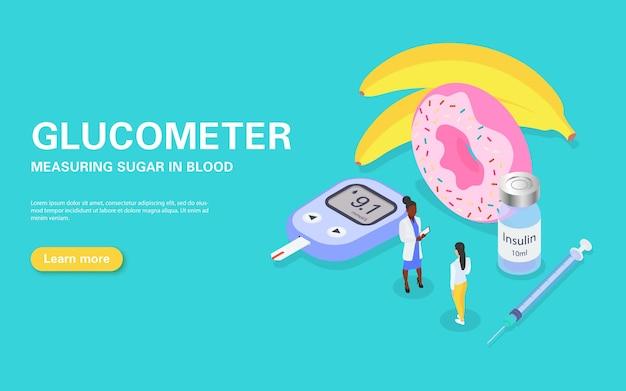 Banner per misurare la glicemia con un glucometro. trattamento e dieta del diabete.