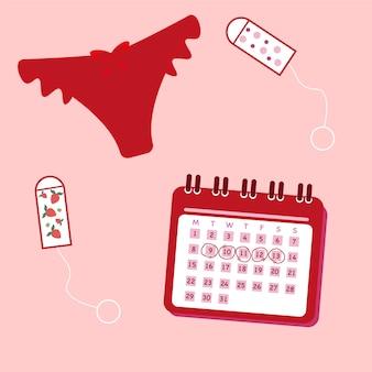 Banner periodo mestruale giorni mestruali delle donne calendario degli assorbenti degli slip grafica vettoriale