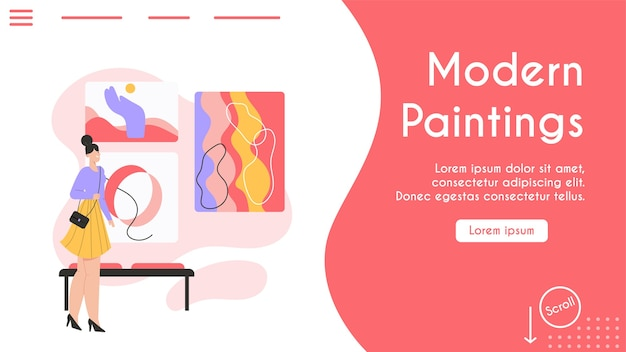 Banner del concetto di quadri moderni.