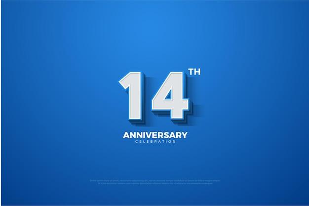Bandiera del numero innalzato in blu per il 14 ° anniversario