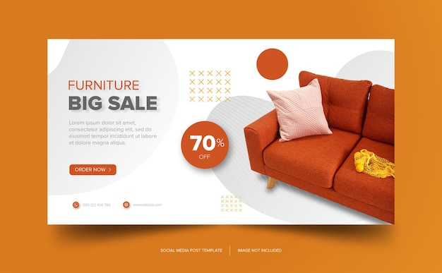 Download gratuito di banner arancione divano mobili premium