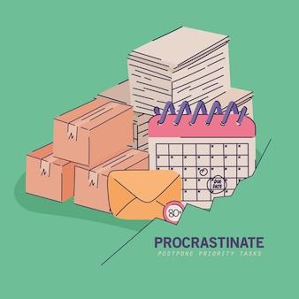 Banner procrastinare con roba da ufficio