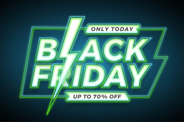 Banner promozione vendita, black friday con effetto neon verde concetto