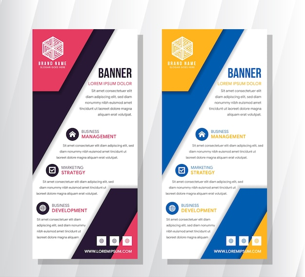 Banner roll-up, template grafico blu arancio e rosa viola