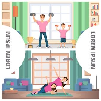 Banner set image fitness casa per la formazione familiare