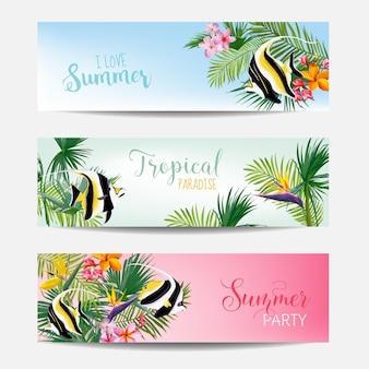 Set di striscioni con fiori tropicali e pesci esotici, cartoline con testo, volantini sulla spiaggia