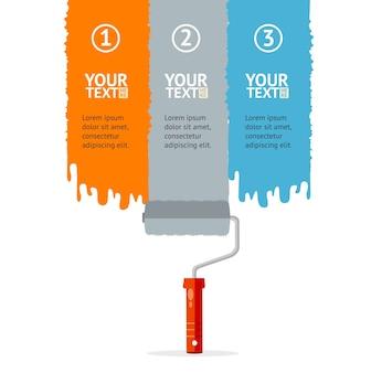 Banner impostato verticale con roller colorati arancione grigio e blu isolato su uno sfondo bianco con posto per il testo