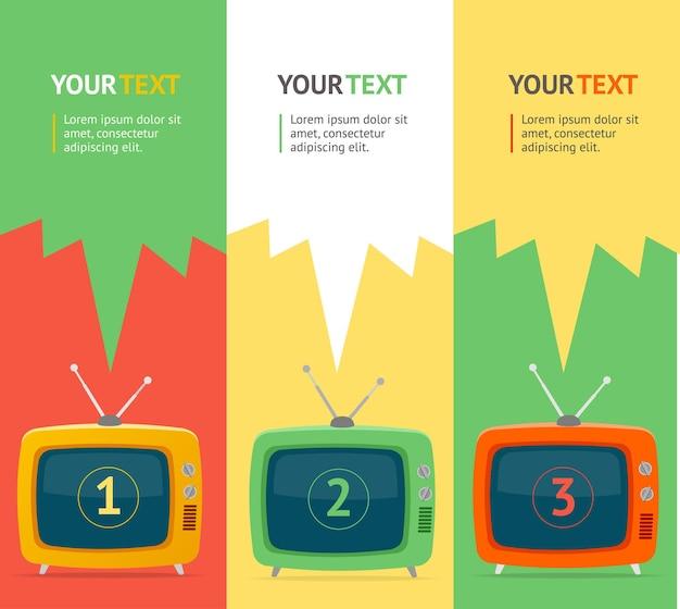 Banner verticale con televisione retrò. design piatto, banner di opzione. Vettore Premium