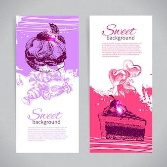 Banner set di sfondi dolci disegnati a mano d'epoca. menu per ristorante e bar