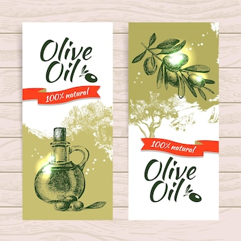 Set di banner di sfondi splash sfondo oliva vintage