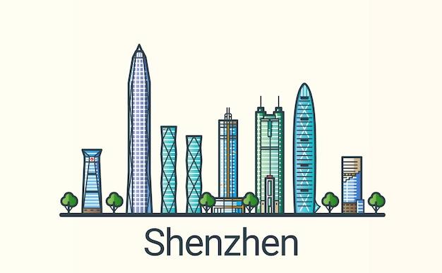 Banner della città di shenzhen in stile alla moda linea piatta. tutti gli edifici separati e personalizzabili. linea artistica.
