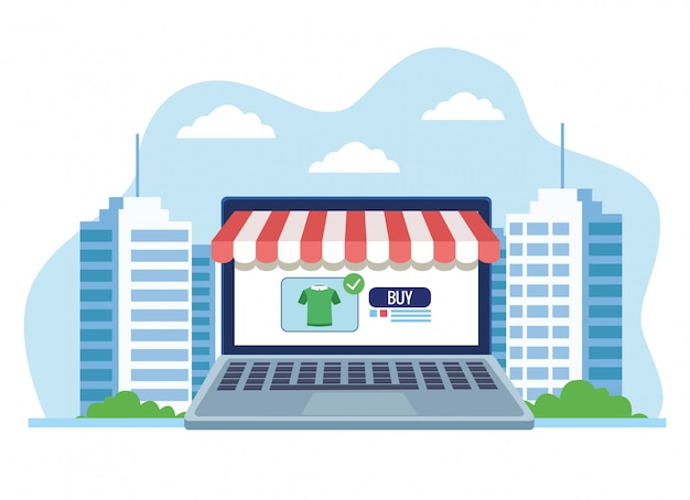 Insegna che compera online con l'illustrazione d'acquisto della camicia del computer portatile