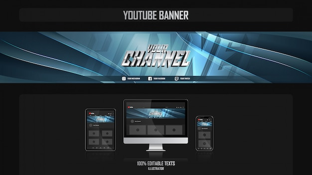 Banner per il canale dei social media con il concetto dinamico
