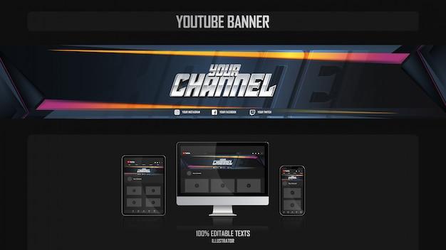Banner per il canale dei social media con il concetto di fitness