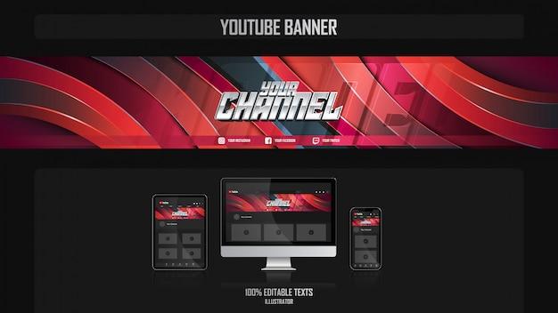 Banner per il canale dei social media con il concetto di giocatore