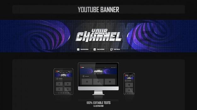 Banner per il canale dei social media con il concetto di notte