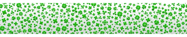 Banner per il giorno di san patrizio fatto di foglie di trifoglio in colori verdi con ripetizione orizzontale senza soluzione di continuità