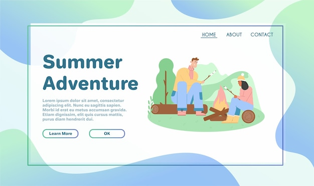Banner del concetto di avventure estive.