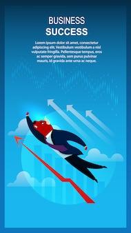 Modello di banner business success trader bull volando sopra