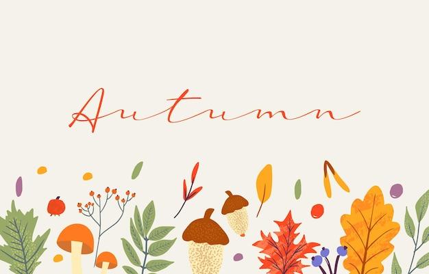 Modello di banner decorato con elementi e testo alla moda autunnali. foglie che cadono bacche e funghi. scrapbook set di elementi della stagione autunnale. illustrazione vettoriale piatta naturale per pubblicità, promozione