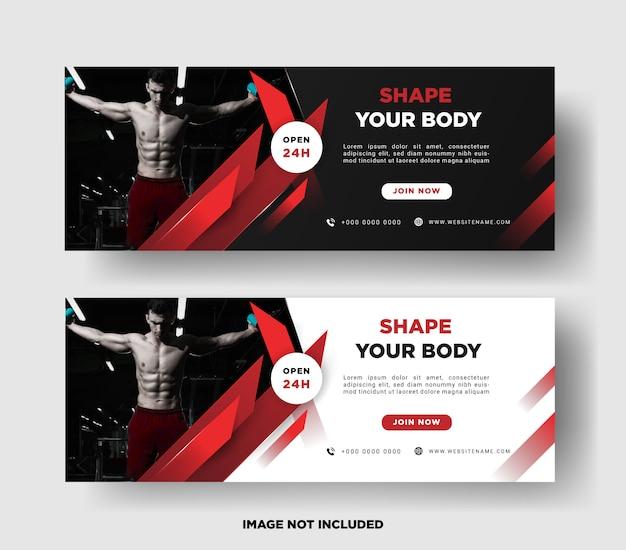 Modello di banner. promozione palestra Vettore Premium