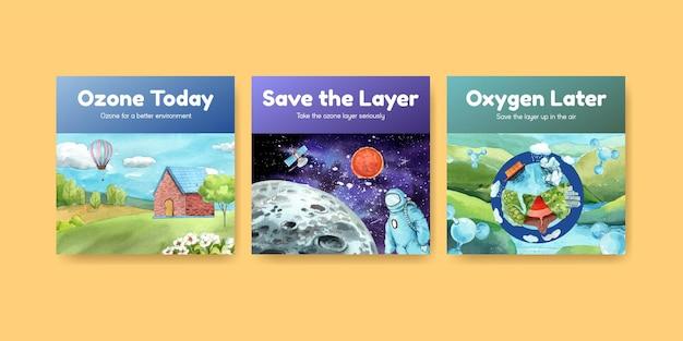 Modello di banner impostato con il concetto di giornata mondiale dell'ozono, stile acquerello