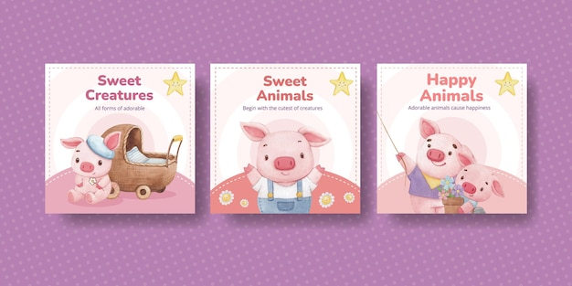 Modello di banner con il concetto di adorabili animali, stile acquerello