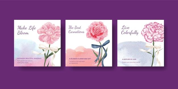 Modello di banner con il concetto di fiore di garofano, stile acquerello