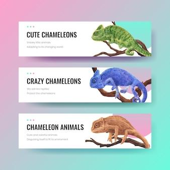 Modello di banner con lucertola camaleonte in stile acquerello