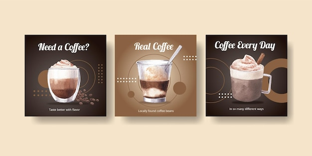 Modello di banner con caffè in stile acquerello