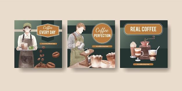 Modello di banner con caffè