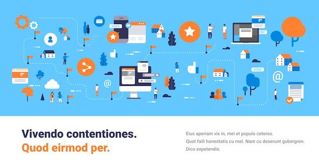 Modello di banner con icone di comunicazione, mobile, schermo del computer, interfaccia di chat