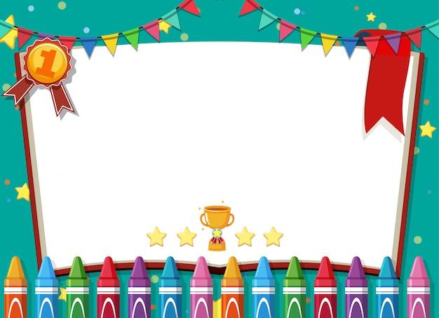 Modello di banner con pastelli e coriandoli sfondo