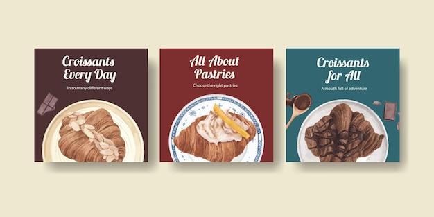 Modello di banner con concetto di croissant, stile acquerello