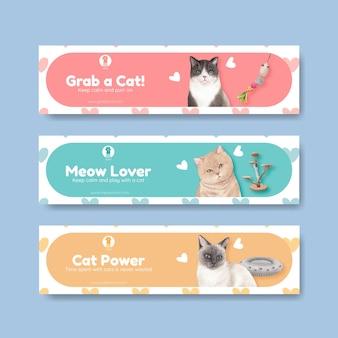 Modello di banner con simpatico gatto